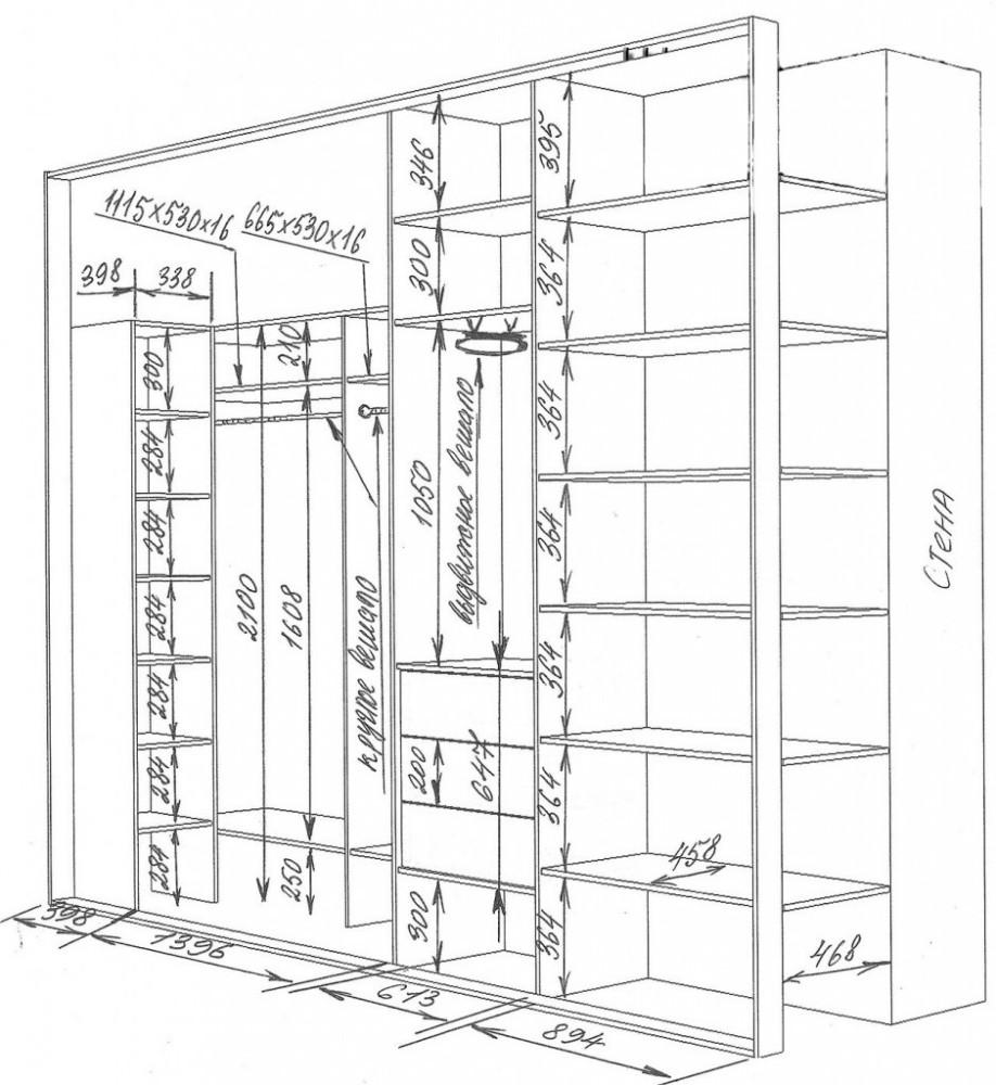 Встроенные шкафы купе своими руками схема