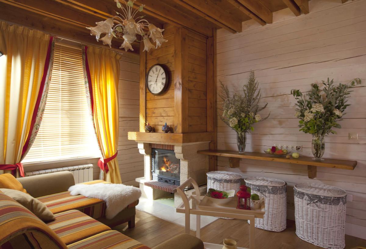 Гостиная с камином в стиле прованс интерьер своими руками