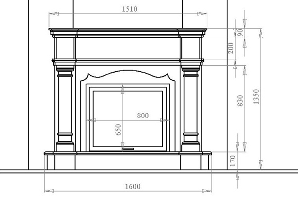 Drawing fireplace from plasterboard