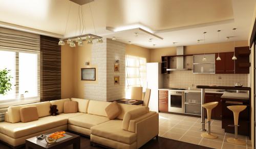 Design of living room-kitchen