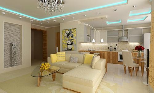 Design of modern living room kitchen