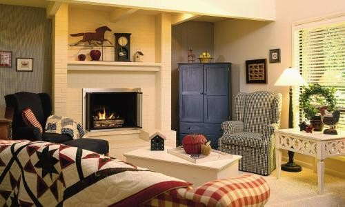 Interior of living room with fireplace