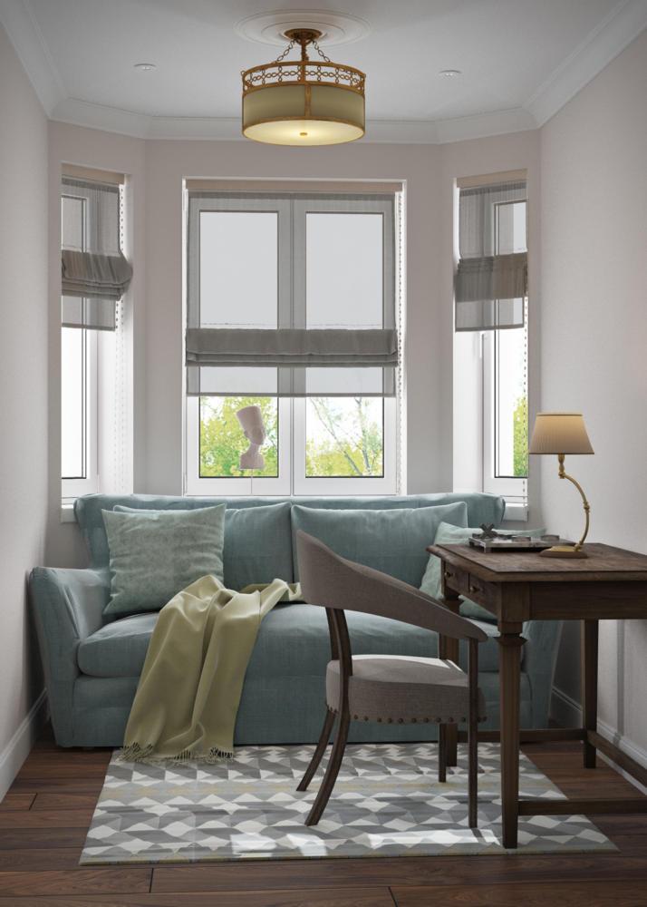 Lichte woonkamer met een witte bank en een roze fauteuil