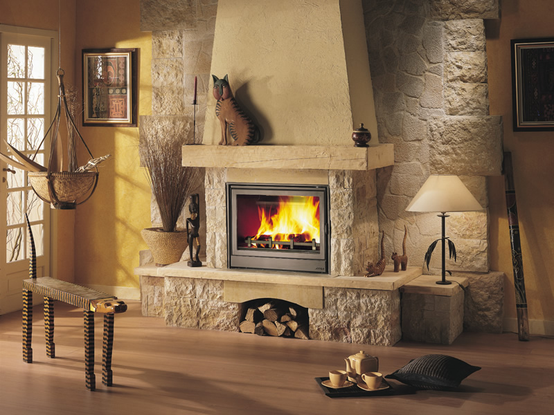 Electric fireplace in the interior