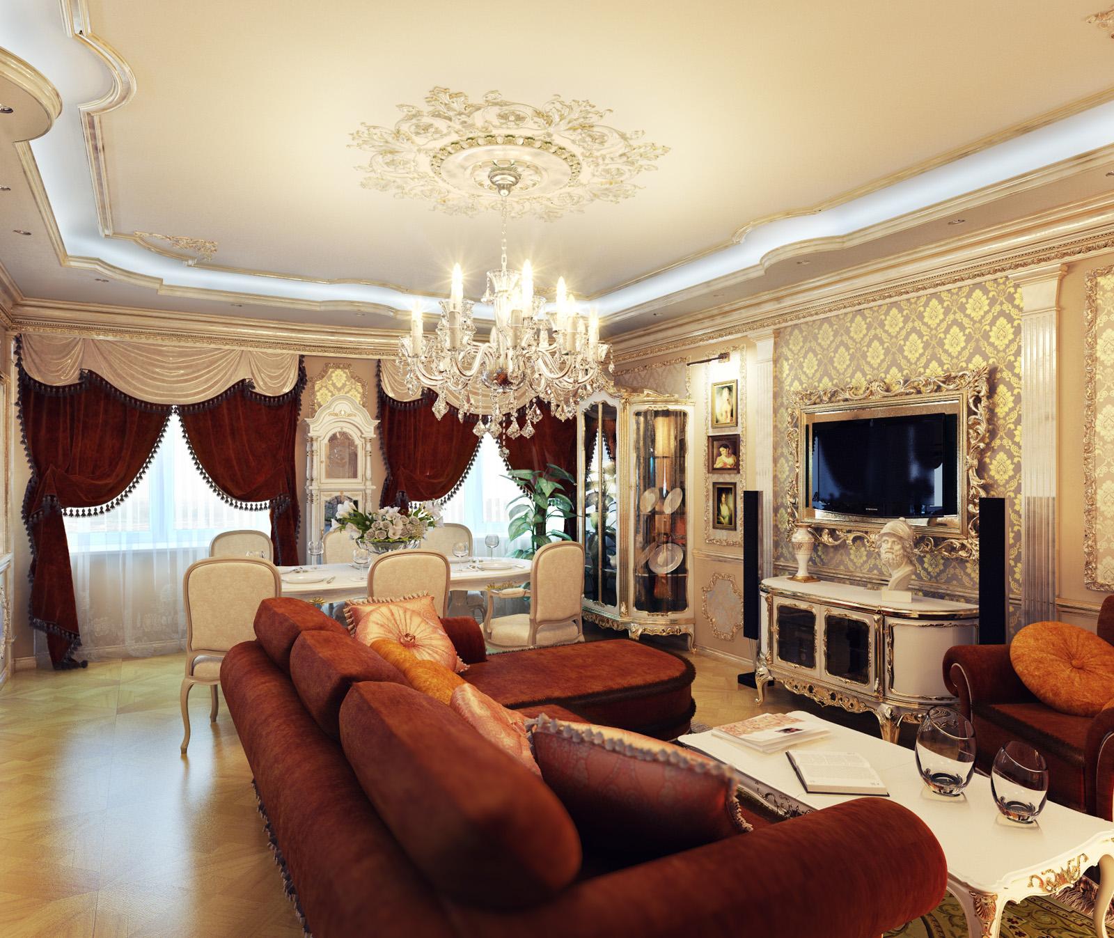 Hoe een woonkamer in een klassieke stijl te versieren?